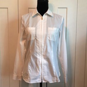 Anne Klein LS White Blouse Gold Zipper, 4